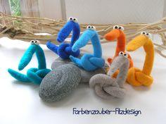 Kuscheltiere - Filzfigur Denkdran - Farbe orange - ein Designerstück von Farbenzauber bei DaWanda