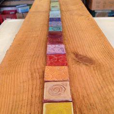Glaze color sample chips - I want more! #glaze #artistlife #tileaddiction by eartha_handmade_tile