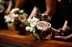 Beautiful Blooms - Soft Pink & Ivory Winter Bouquet with Pinecones