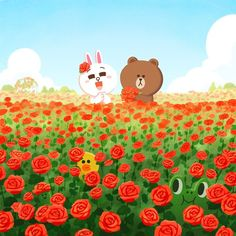 All eyes are on #BROWN and #CONY!👀😜. #LINEFRIENDS #camouflage #roses #hiddenfigures #SALLY #LEONARD #EDWARD