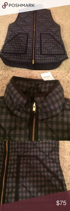 NWT J. Crew printed quilted puffer vest NWT. Super cute printed vest with black lining J . Crew  Jackets & Coats Vests