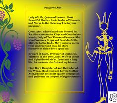 Prayer to Aset Check out my Facebook Page [Neferkara] for more Prayer Art and access to my videos on Ancient Egyptian history and religion, as well as my Kemetic beliefs