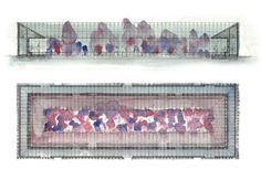 Zumthor's painting overlaid on the technical plan and section.