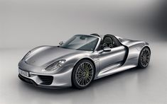 Download wallpapers Porsche 918 Spyder, 4k, racing car, supercar, silver 918, German cars, Porsche