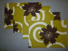 4 Funky Fabric Placemats Floral Dark Chocolate Brown and white on Green