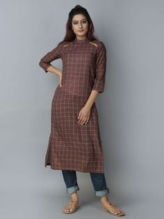 Mehroon Khadi Straight Kurta