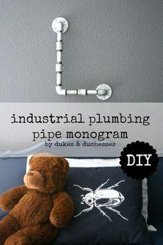 DIY industrial plumbing pipe monogram