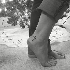 Cross Ankle Tattoo In Christ alone my hope is found.
