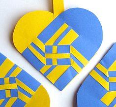 Swedish Flag Decoration SET OF 3 Woven Heart Christmas Ornament Nordic Traditional Paper Julehjerter
