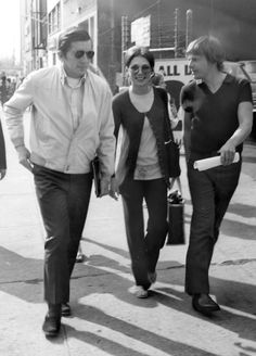 Jonathan Frid, Kathryn Leigh-Scott and John Karlen arriving at the studio to film the TV show, Dark Shadows