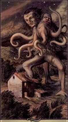 Dunwich Horror Ten of Swords, Dark Grimoire Tarot By Schwerter Hp Lovecraft, Lovecraft Cthulhu, Arte Horror, Horror Art, Dark Fantasy Art, Dark Art, Arte Heavy Metal, Lovecraftian Horror, Eldritch Horror
