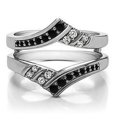 Sterling Silver Double Row Chevron Ring Enhancer with Black And White Diamonds (G-H,I2-I3) (0.42 ct.)