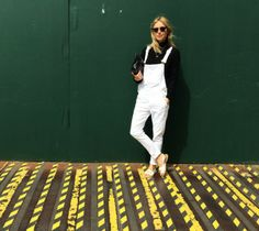 Pernille Teisbæk looking super cool in a pair of white overalls. Her beautiful Balenciaga sandals and Balenciaga Clutch from www.hollygolightly.dk #ahollydream #Balenciaga #Hollygolightly