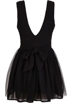 rückenfreies Kleid Gaze mit tiefem V-Ausschnitt, schwarz
