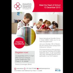 The next Meet the Head of School will take place on Sunday 13th of December 2015 at the SISD campus from 5.00 pm to 7.00 pm. This event will give the opportunity to interested parents to meet with Beat Sommer Head of School and to participate in Swiss International Scientific School Dubai Q & A session and a school tour