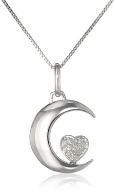 """Sterling Silver """"I Love U 2 the Moon and Back"""" Diamond Accent Moon and Heart Pendant Necklace  (0.06cttw, I-J Color, I2-I3 Clarity), 18"""""""
