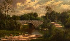 "Henry Hulsmann ""Bridge in a Landscape"" Oil on Canvas"