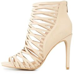 Anne Michelle Laser Cut Dress Sandals (2.485 RUB) ❤ liked on Polyvore featuring shoes, sandals, nude, caged shoes, peep toe heel sandals, nude shoes, nude heeled sandals and cage sandals