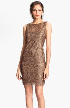 Teri Jon V-Back Sequin Floral Sheath Dress available at #Nordstrom  with a sheer black wrap/sweater?