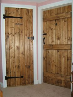 """I like the more modern trim with the braced and ledged door. I also like the """"washroom"""" sign :-) Cottage Living Rooms, Cottage Interiors, Barn Conversion Interiors, Castle Doors, Make A Door, Building A Door, Wine Cellar Design, Barn Door Designs, Cottage Door"""