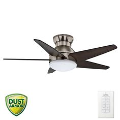 """Casablanca 59019 Isotope 44"""" 5 Blade Flush Mount Ceiling Fan - Blades and Light Kit Included. Low profile for ceilings 8' or less. $319"""