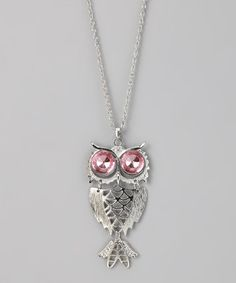 Take a look at this Pink & Silver Owl Necklace by Rated G on #zulily today!