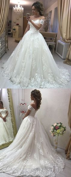 Lace Embroidery Off Shoulder Tulle Wedding Dresses Princess