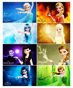 Elsa's different elements. The fire one should be called ember and her hair should be redder for that one