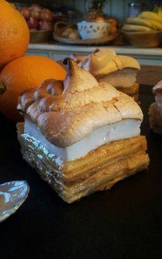gâteau de crèpes orange miel meringué