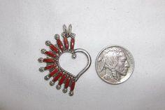 Native American Zuni Sterling Silver Needlepoint Apple Coral Heart Pendant RS #Handmade #Zuni #Needlepoint