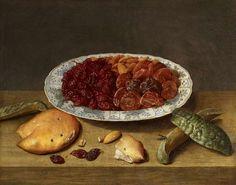 Jacob van Hulsdonck - Still life with raisons, apricots and plums in a porcelain dish - Jacob van Hulsdonck
