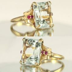Large Art Deco 14k Gold 9.05ct Emerald Cut Aquamarine & Ruby Ladies from theantiqueboutique on Ruby Lane