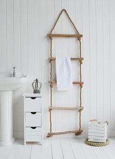 Rope towel ladder for coastal bathrooms. Hang Towels In Bathroom, Seaside Bathroom, Nautical Bathrooms, Bathroom Storage, Small Bathroom, Sea Theme Bathroom, Bad Am Meer, White Bathroom Furniture, Budget Bathroom Remodel