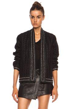 Isabel Marant|Oma Quilt Shantung Gromet Silk Jacket in Black