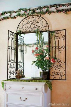 girl's secret garden room, complete with leafy chandelier, garden box, and painted fire place. Forest Bedroom, Garden Bedroom, Garden Walls, Bedroom Themes, Girls Bedroom, Bedroom Decor, Bedroom Inspo, Master Bedroom, Fairy Room