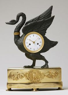 Early Century Empire Ormolu and Patinated Bronze Swan T.- Early Century Empire Ormolu and Patinated Bronze Swan Table Clock Clock – Early Ormolu Patinated Swan Table French Empire Bronze, Enamel - Napoleon, Antique Clocks For Sale, Antique Mantel, French Clock, Mantel Clocks, Bronze, Empire Style, Thing 1, Louis Xvi