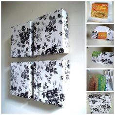 diy lindo e fácil. Use tampa de caixas e tecido e faça quadros lindos para a parede do seu quarto: