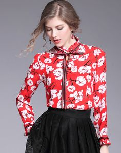 078da00e503cf  VIPme Red Silk Floral Print Bow Collar Shirt ❤ Get more outfit ideas and  style inspiration from fashion designers at VIPme.com