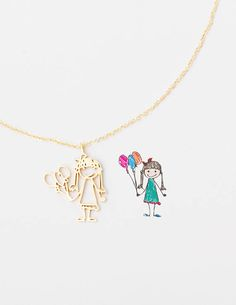 Actual Kid's Drawing Necklace - Children Artwork Necklaces - Happy Mother's Day Jewelry - Special Jewelry for Moms - Gifts for Mom - Luxury Jewelry, Jewelry Shop, Custom Jewelry, Jewelry Stores, Jewelry Design, Jewelry Making, Ear Jewelry, Fashion Jewelry, Unique Jewelry