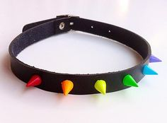 Vegan Leather Rainbow Spiked Choker with 10mm Spikes by ToxifyDesigns on Etsy