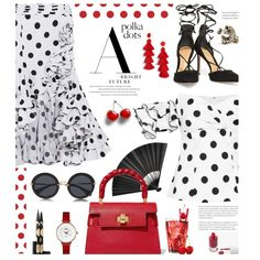 So Dotty: Polka Dots by hamaly on Polyvore featuring moda, Caroline Constas, Schutz, Miu Miu, Gucci, BaubleBar, rms beauty, Kerr®, Sephora Collection and outfit