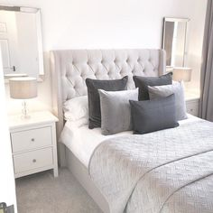 Shop for Furniture, Home Accessories & Bedroom Layouts, Room Ideas Bedroom, Small Room Bedroom, Bedroom Styles, Home Bedroom, Ikea Bedroom, Grey Bedroom Design, Grey Bedroom Decor, White Bedroom Furniture