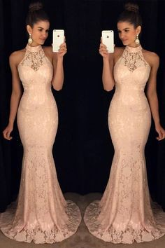 New Arrival Pink Lace Prom Dresses,High Neck Mermaid Prom Dress,Long Formal
