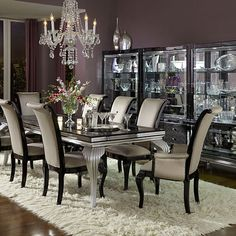 Hollywood Swank. Be a star with the Michael Amini Hollywood Swark Starry Night Dining Room Ensemble.  Featured at Mobilia Furniture Brooklyn NY