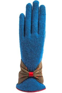 Wool Blend Knit Gloves in color Cobalt with very soft leather in dark Taupe with Red Polka dots and Red leather trim at wrist. These gloves not only will keep your hands warm but they also look very stylish with your coat. SANTACANA. Glovers since 1896, they opened their first store in Madrid Calle Carretas, produce the best handmade leather gloves, in the same manner and with the same spirit more than one hundred years ago.   Wool Leather Gloves by Santacana Madrid. Accessories - Hats and…