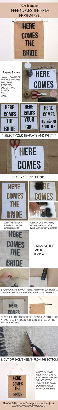 how to make a here comes the bride sign