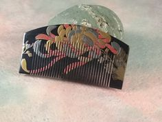 "Japanese Vintage wooden Comb / Brilliant ""Kushi"" / Gold lacquer work / Geisha hair clip / Japón / Giappone"