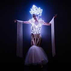 White Queen LED light up rainbow Cage dress outfit / fashion festival costume clothing Light Up Dresses, Light Up Clothes, Light Up Costumes, Led Costume, Dress Outfits, Fashion Outfits, Fashionable Outfits, Queen Outfit, Festival Costumes