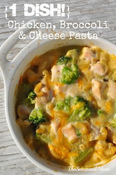 This 1 Dish Chicken, Broccoli, and Cheese Pasta is a complete, kid-friendly dinner that all cooks together — no prep required. Even the pasta and the chicken cook together in the same casserole, making this recipe the answer to your busy weeknight prayers!