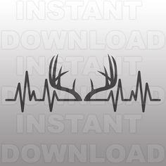 Deer Antlers Heartbeat SVG FileHunting ekg SVGPulse svgAntlers SVG-Vector Clip Art-Commercial/Personal Use-CricutSilhouetteCameoVinyl Bow Hunting Tattoos, Deer Antler Tattoos, Deer Antlers, Ekg Tattoo, Raven Tattoo, Hunting Decal, Hunting Dogs, Tattoos For Guys, Small Tattoos